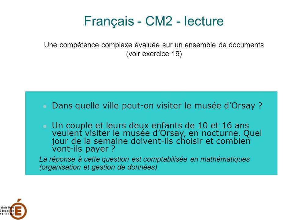 Français - CM2 - lecture Une compétence complexe évaluée sur un ensemble de documents (voir exercice 19)