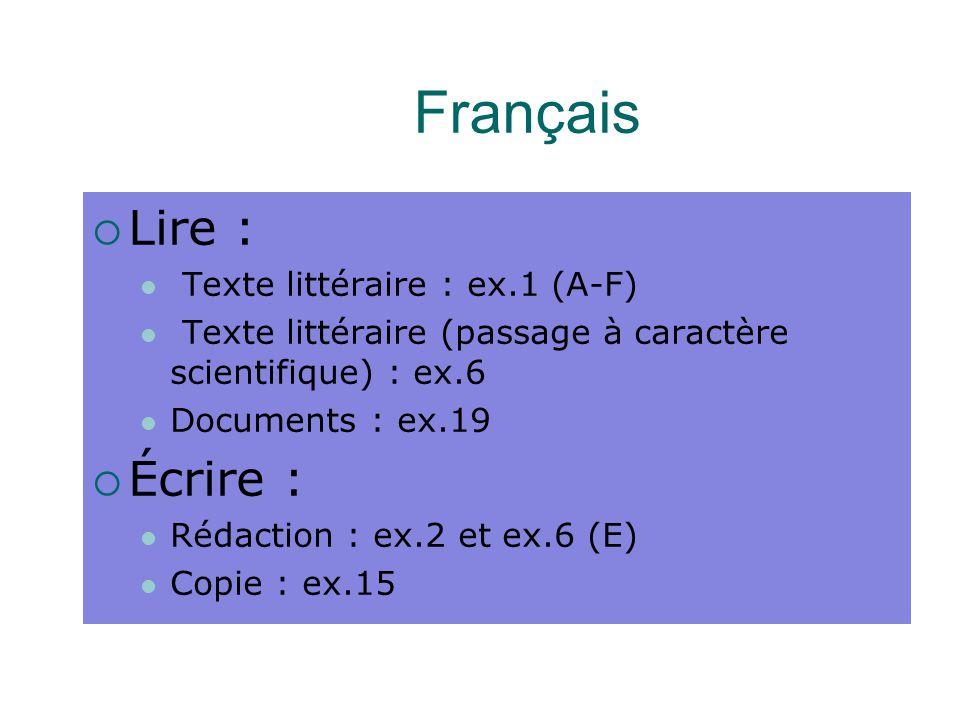 Français Lire : Écrire : Texte littéraire : ex.1 (A-F)