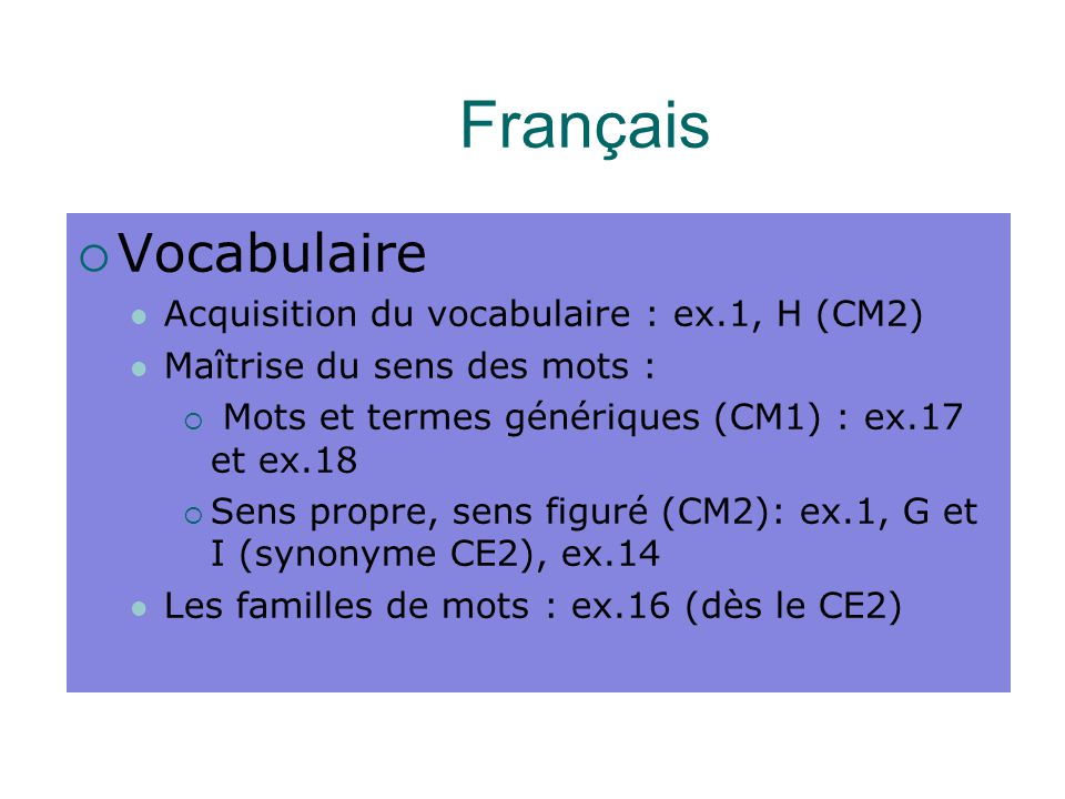 Français Vocabulaire Acquisition du vocabulaire : ex.1, H (CM2)