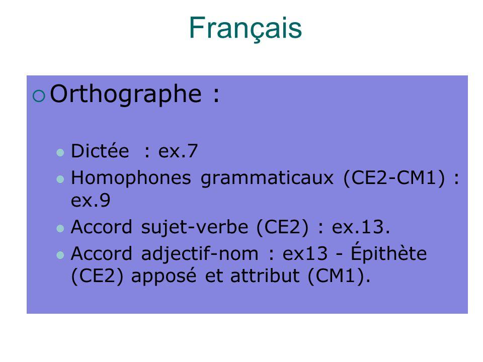 Français Orthographe : Dictée : ex.7
