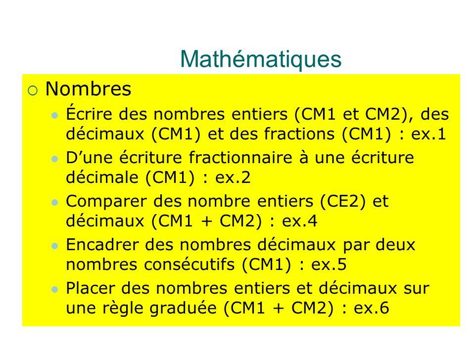 Mathématiques Nombres