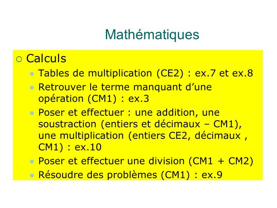 Mathématiques Calculs Tables de multiplication (CE2) : ex.7 et ex.8