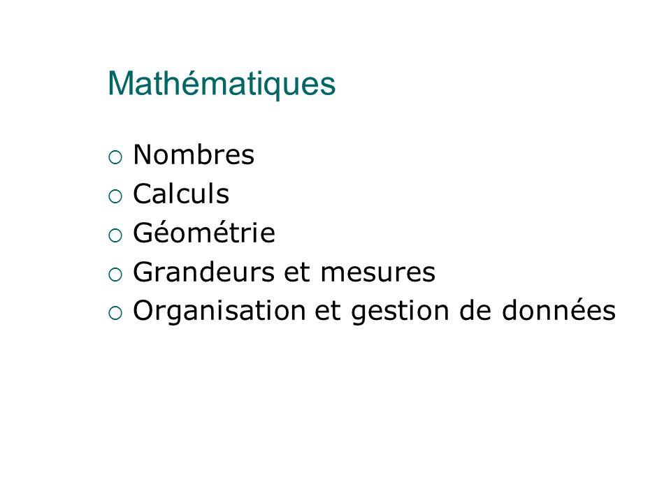 Mathématiques Nombres Calculs Géométrie Grandeurs et mesures