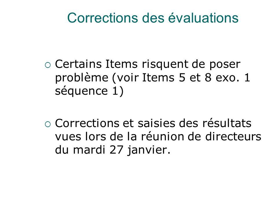 Corrections des évaluations