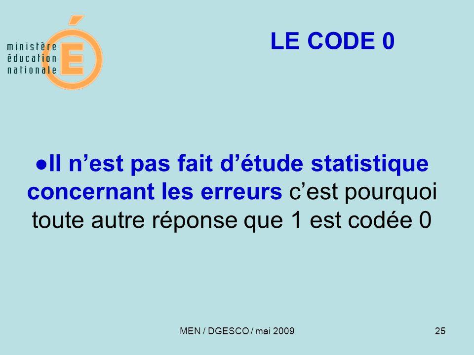 LE CODE 0 ●Il n'est pas fait d'étude statistique concernant les erreurs c'est pourquoi toute autre réponse que 1 est codée 0.