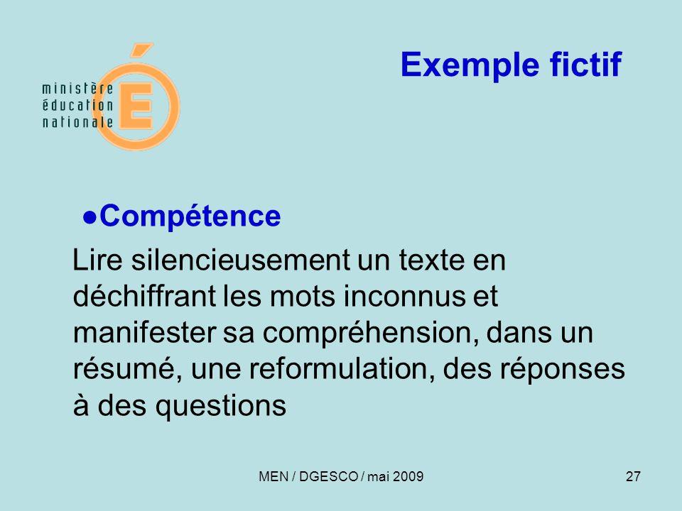 Exemple fictif ●Compétence