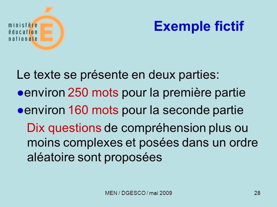 Exemple fictif Le texte se présente en deux parties: