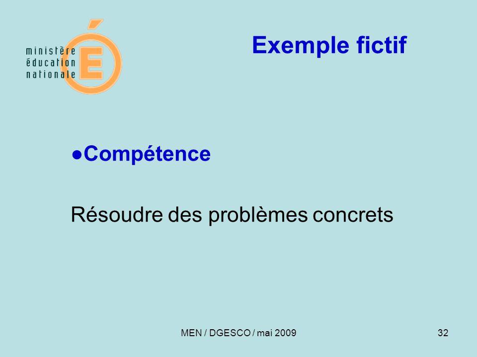 Exemple fictif ●Compétence Résoudre des problèmes concrets