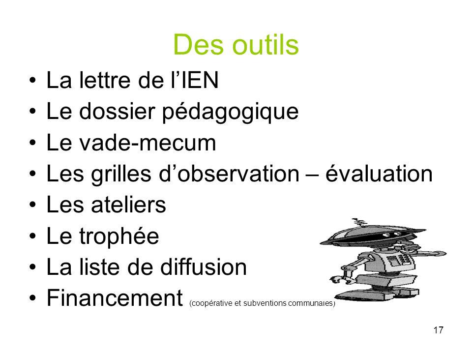 Des outils La lettre de l'IEN Le dossier pédagogique Le vade-mecum