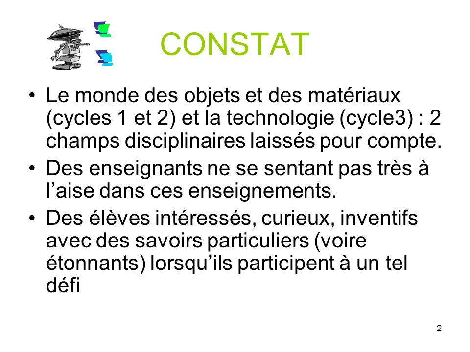 CONSTAT !! Le monde des objets et des matériaux (cycles 1 et 2) et la technologie (cycle3) : 2 champs disciplinaires laissés pour compte.