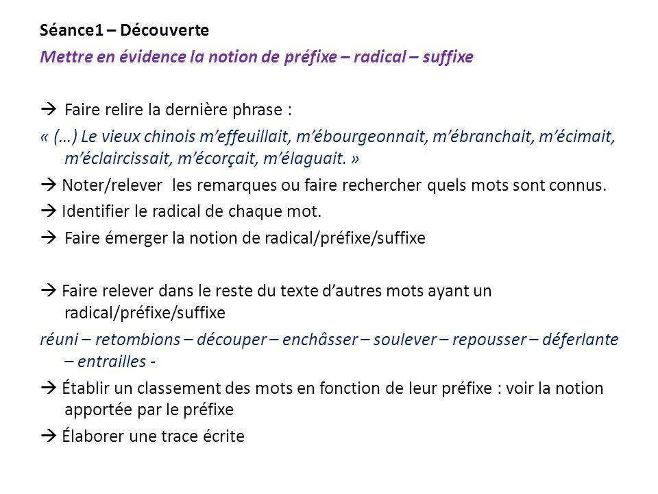 Séance1 – Découverte Mettre en évidence la notion de préfixe – radical – suffixe. Faire relire la dernière phrase :