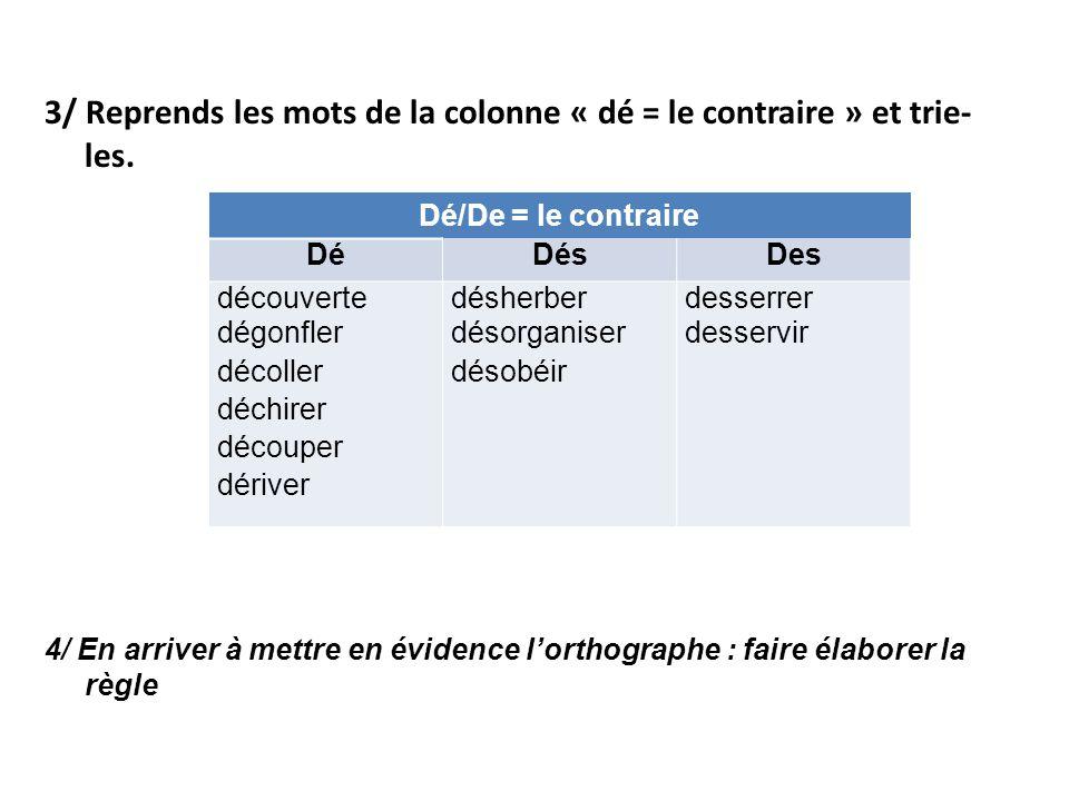 3/ Reprends les mots de la colonne « dé = le contraire » et trie- les.