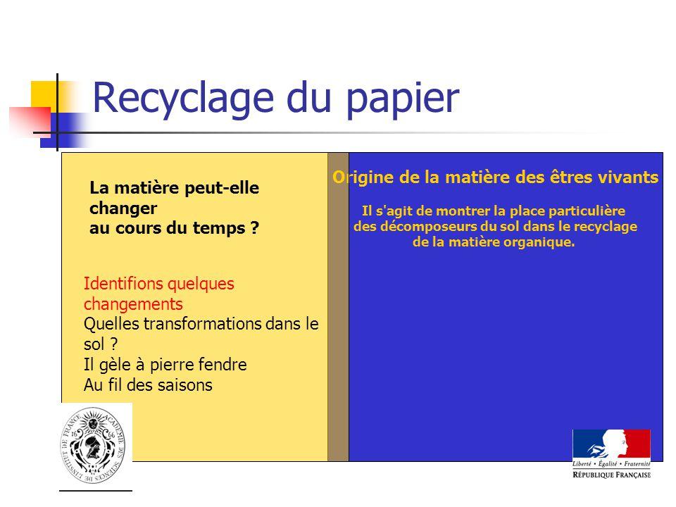 Recyclage du papier Origine de la matière des êtres vivants
