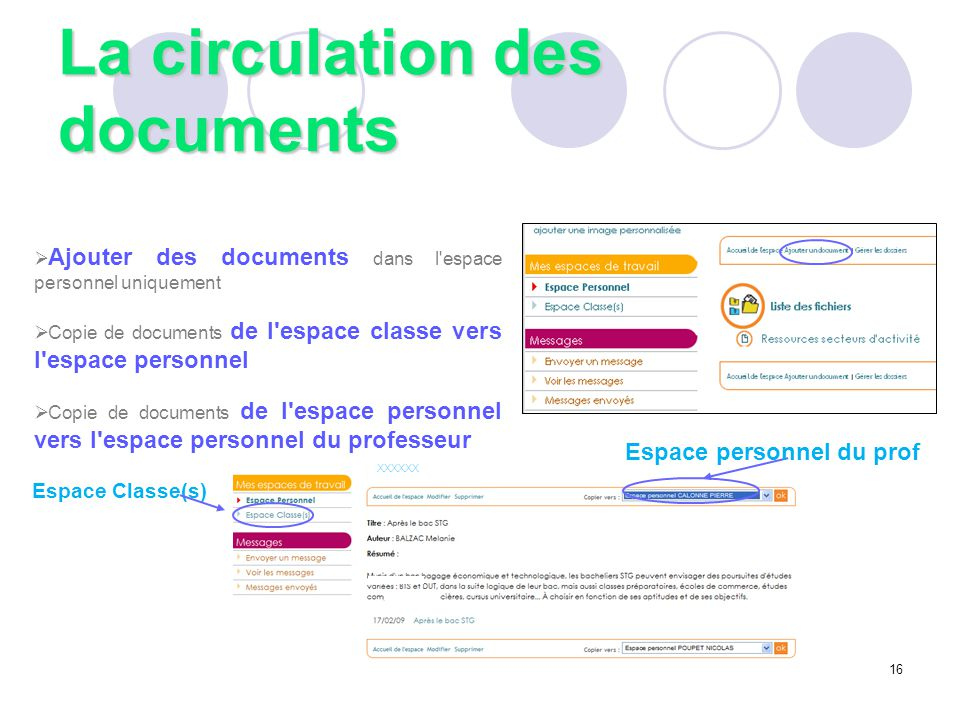 La circulation des documents