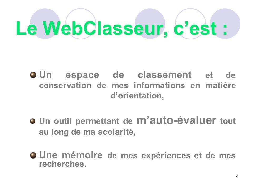 Le WebClasseur, c'est : Un espace de classement et de conservation de mes informations en matière d'orientation,