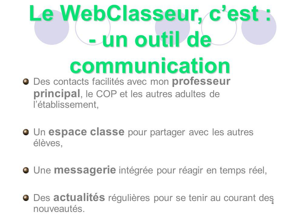Le WebClasseur, c'est : - un outil de communication