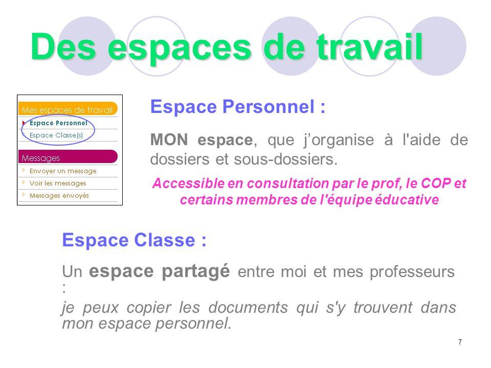 Des espaces de travail Espace Personnel : Espace Classe :