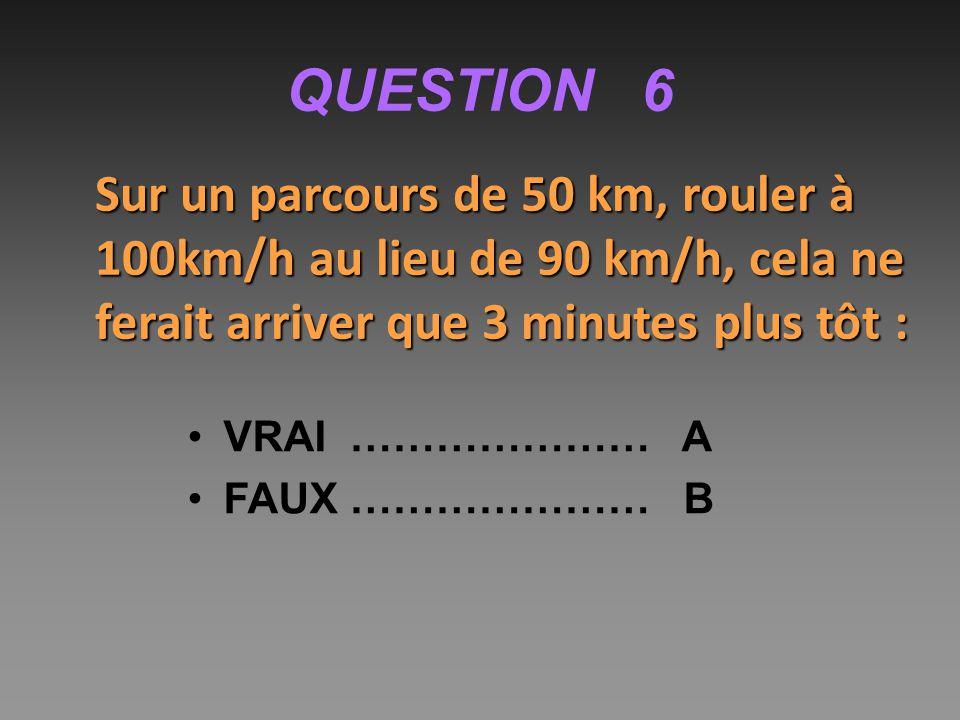 QUESTION 6 Sur un parcours de 50 km, rouler à 100km/h au lieu de 90 km/h, cela ne ferait arriver que 3 minutes plus tôt :