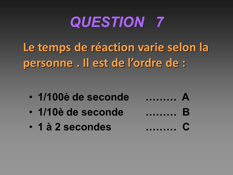 QUESTION 7 Le temps de réaction varie selon la personne . Il est de l'ordre de : 1/100è de seconde ……… A.