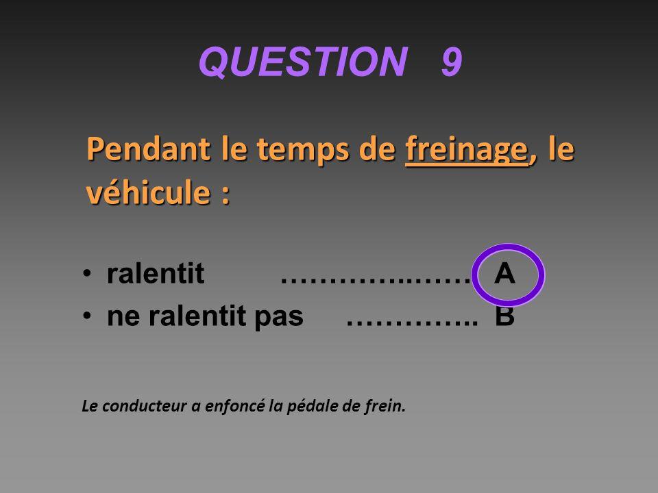 QUESTION 9 Pendant le temps de freinage, le véhicule :