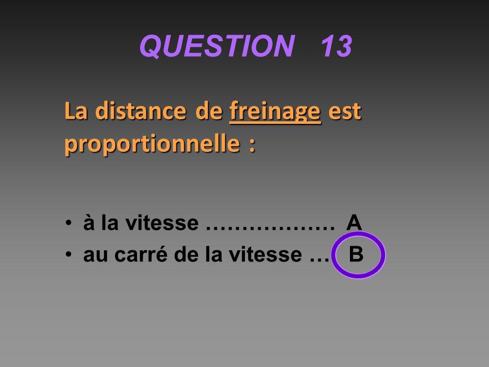QUESTION 13 La distance de freinage est proportionnelle :
