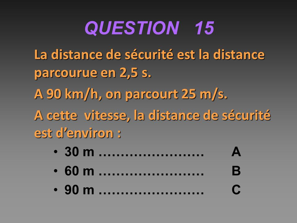 QUESTION 15 La distance de sécurité est la distance parcourue en 2,5 s. A 90 km/h, on parcourt 25 m/s.