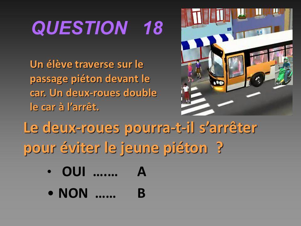 QUESTION 18 Un élève traverse sur le passage piéton devant le car. Un deux-roues double le car à l'arrêt.
