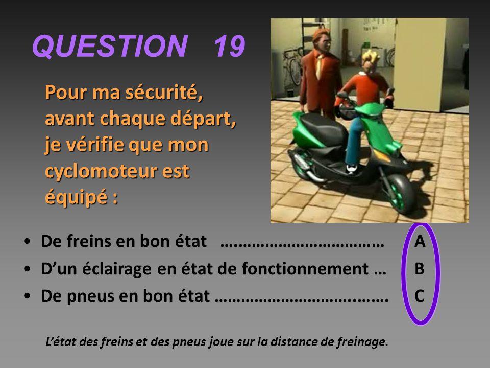 QUESTION 19 Pour ma sécurité, avant chaque départ, je vérifie que mon cyclomoteur est équipé : De freins en bon état ….…………………………… A.
