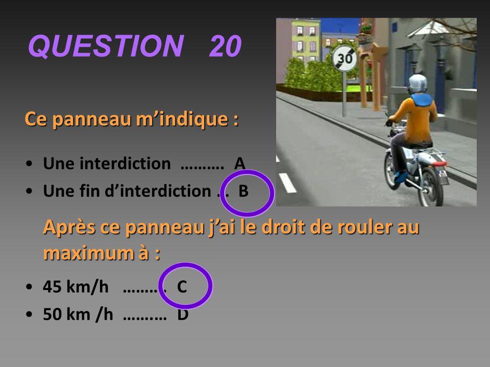 QUESTION 20 Ce panneau m'indique :