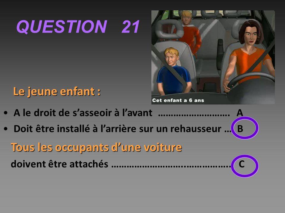 QUESTION 21 Le jeune enfant : Tous les occupants d'une voiture