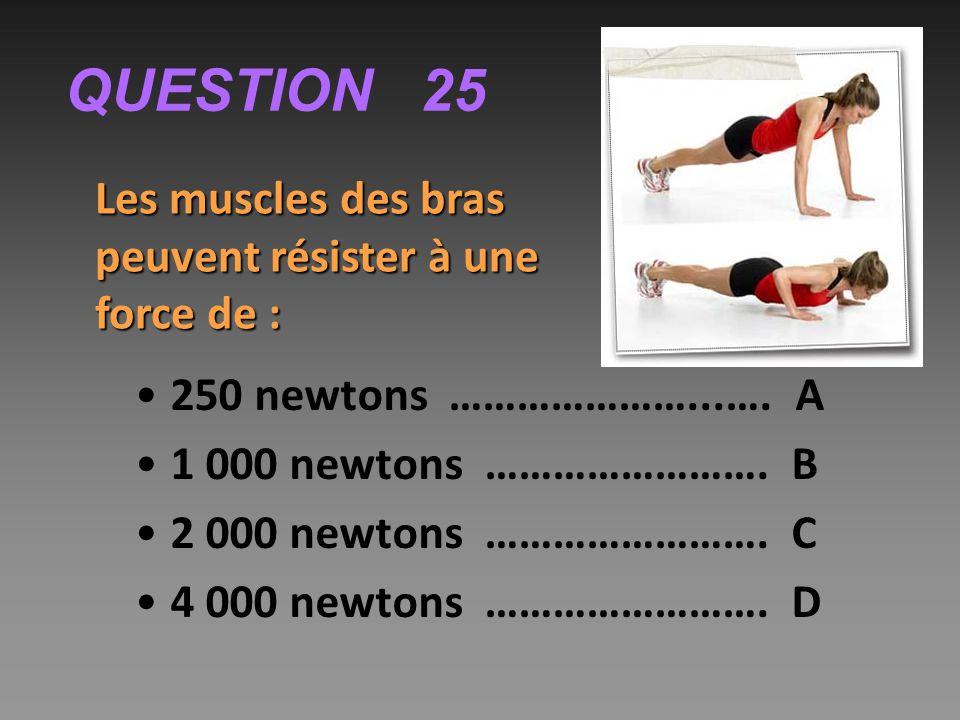 QUESTION 25 Les muscles des bras peuvent résister à une force de :