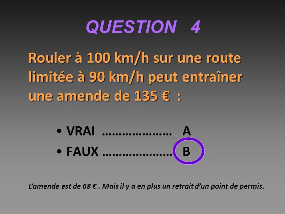 QUESTION 4 Rouler à 100 km/h sur une route limitée à 90 km/h peut entraîner une amende de 135 € :