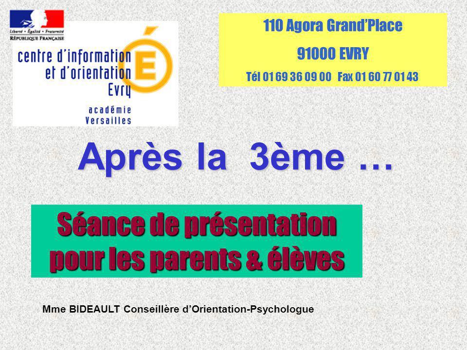 Après la 3ème … Séance de présentation pour les parents & élèves