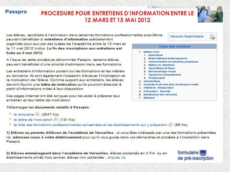 PROCEDURE POUR ENTRETIENS D'INFORMATION ENTRE LE 12 MARS ET 13 MAI 2012