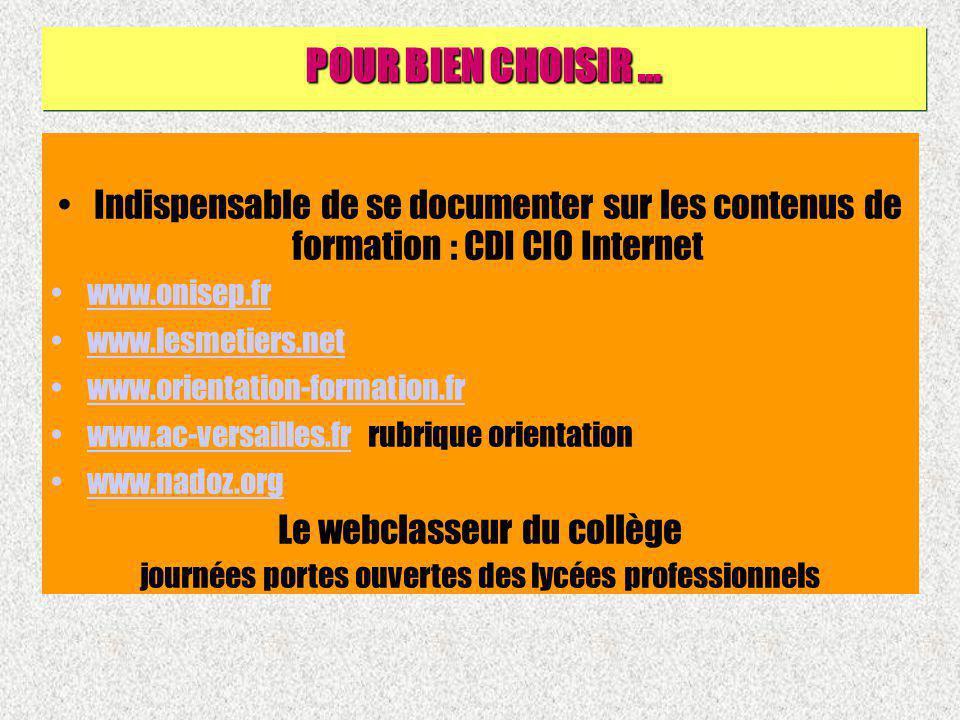 POUR BIEN CHOISIR … Indispensable de se documenter sur les contenus de formation : CDI CIO Internet.