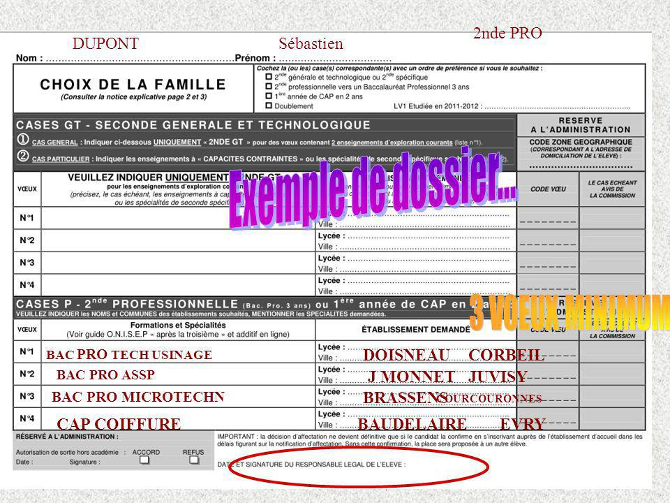 Exemple de dossier... 3 VOEUX MINIMUM 2nde PRO DUPONT Sébastien