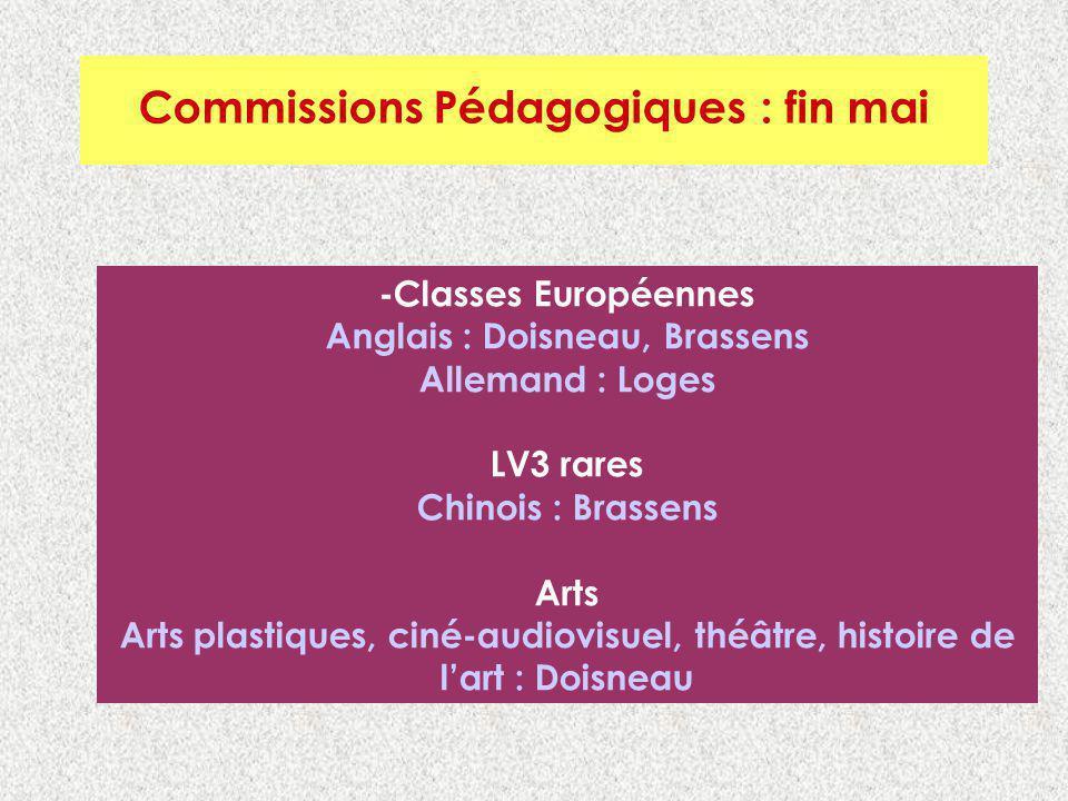 Commissions Pédagogiques : Fin mai Commissions Pédagogiques : fin mai