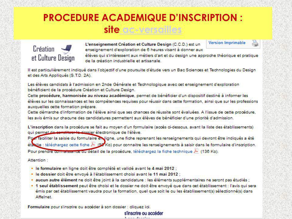 PROCEDURE ACADEMIQUE D'INSCRIPTION :