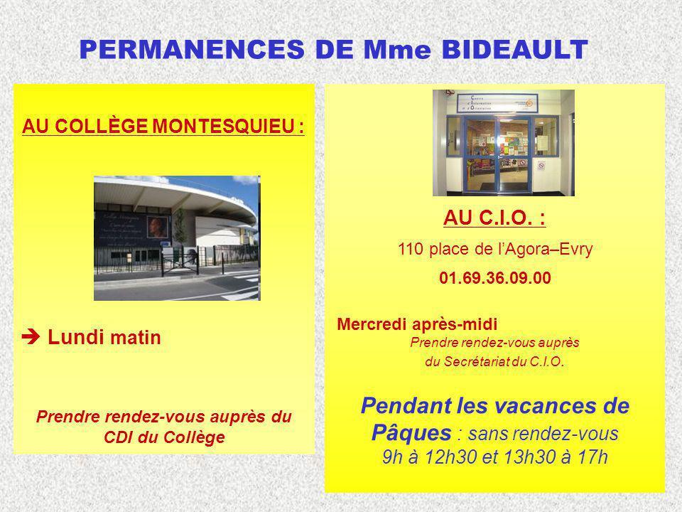 PERMANENCES DE Mme BIDEAULT