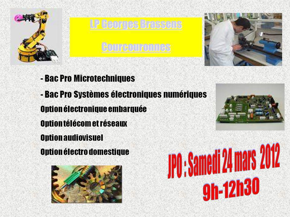 LP Georges Brassens Courcouronnes JPO : Samedi 24 mars 2012 9h-12h30
