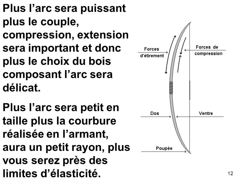 Plus l'arc sera puissant plus le couple, compression, extension sera important et donc plus le choix du bois composant l'arc sera délicat.