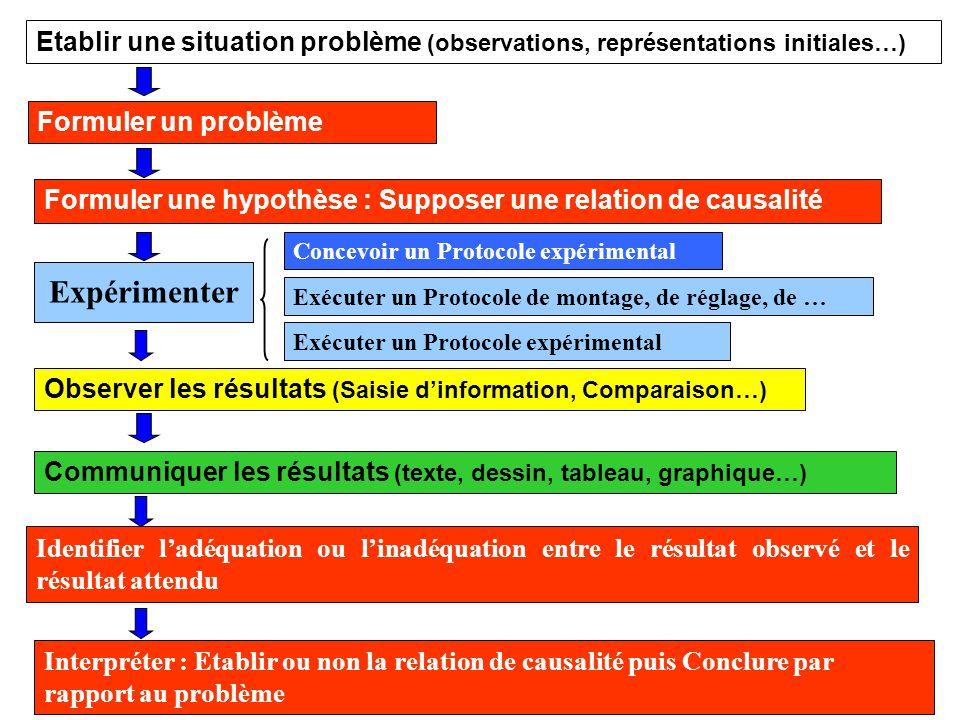 Etablir une situation problème (observations, représentations initiales…)