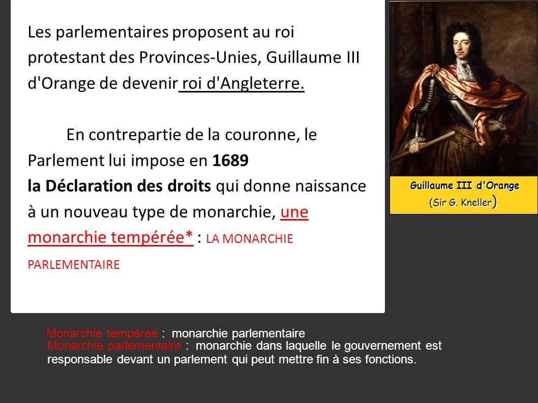 En contrepartie de la couronne, le Parlement lui impose en 1689