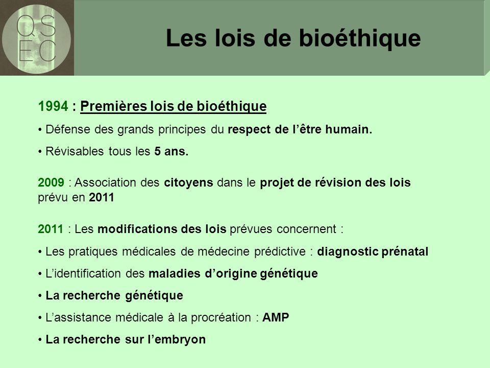 Les lois de bioéthique 1994 : Premières lois de bioéthique