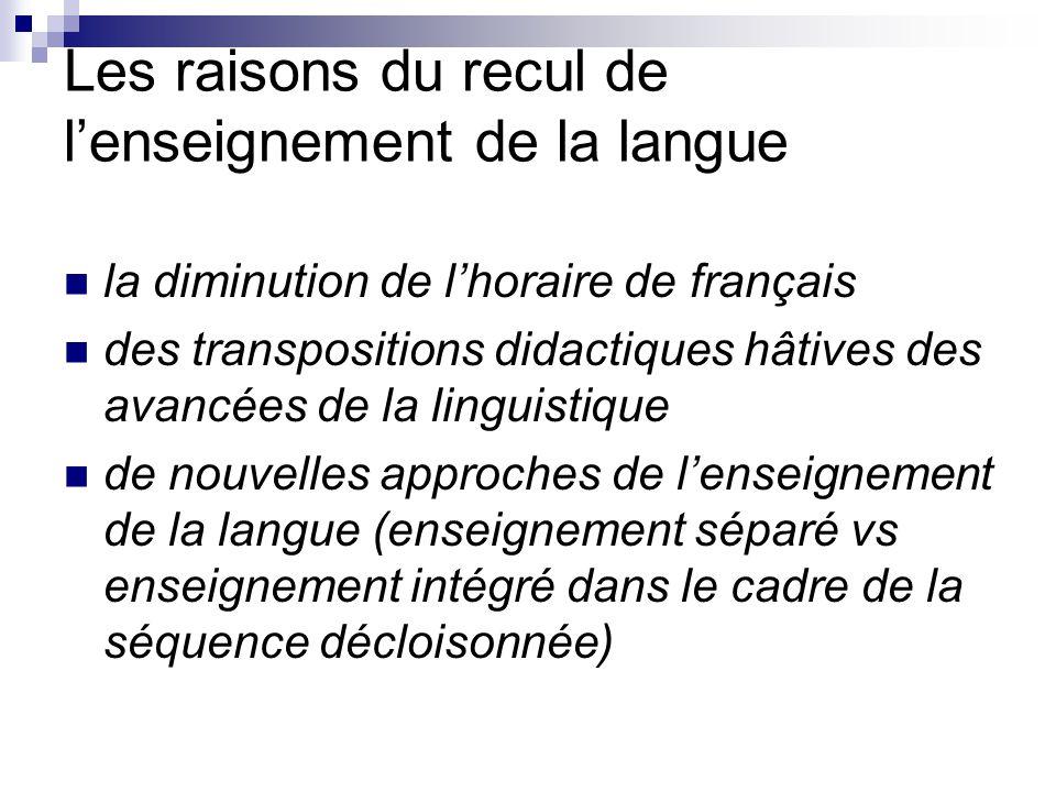 Les raisons du recul de l'enseignement de la langue