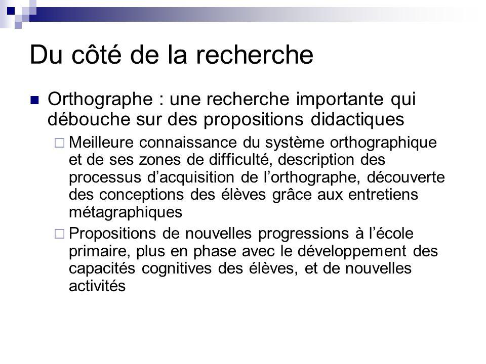 Du côté de la recherche Orthographe : une recherche importante qui débouche sur des propositions didactiques.