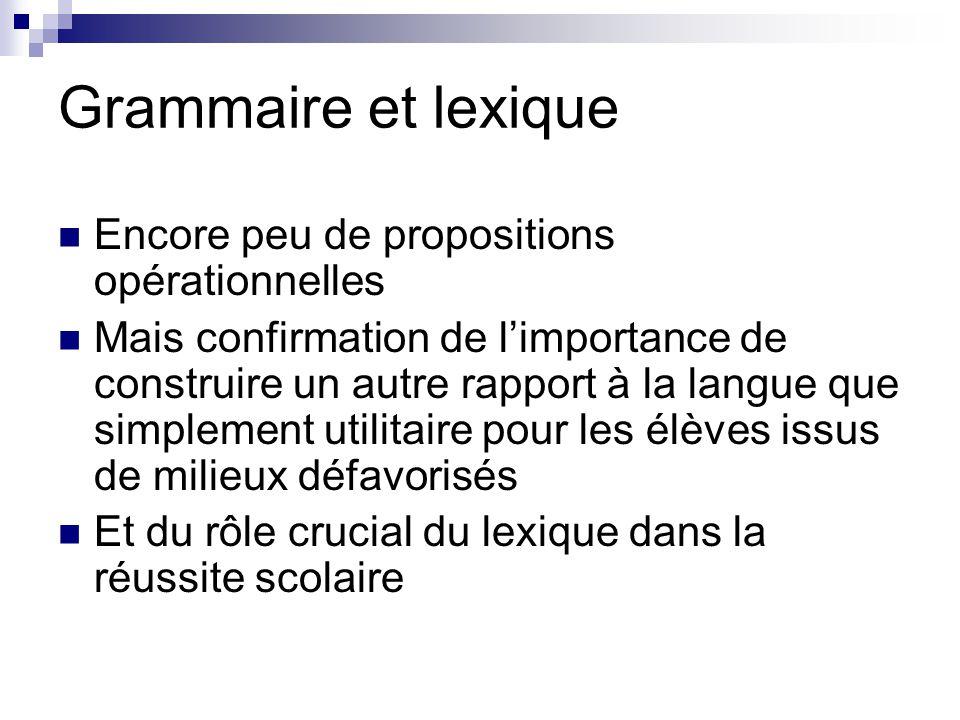 Grammaire et lexique Encore peu de propositions opérationnelles