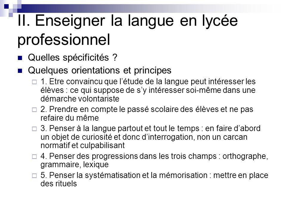 II. Enseigner la langue en lycée professionnel