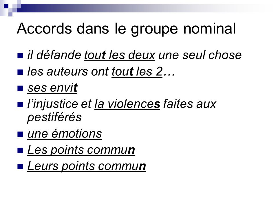 Accords dans le groupe nominal