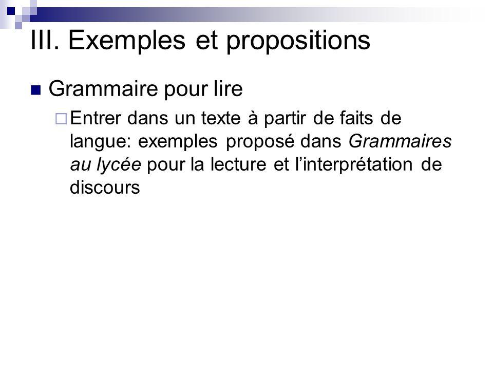III. Exemples et propositions